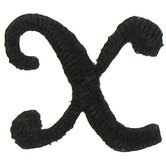 Black Script Letter Iron-On Applique X - 1/2""